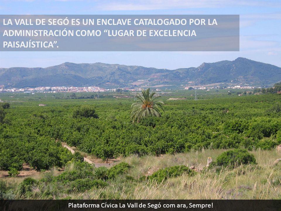 LA VALL DE SEGÓ ES UN ENCLAVE CATALOGADO POR LA ADMINISTRACIÓN COMO LUGAR DE EXCELENCIA PAISAJÍSTICA. Plataforma Cívica La Vall de Segó com ara, Sempr