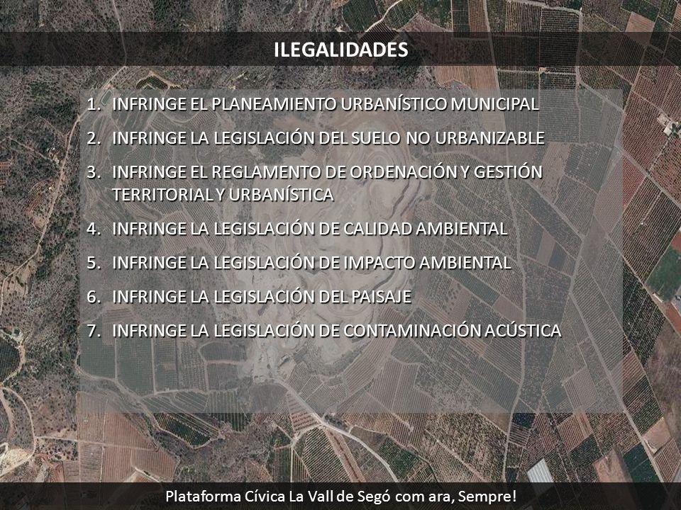 ILEGALIDADES 1.INFRINGE EL PLANEAMIENTO URBANÍSTICO MUNICIPAL 2.INFRINGE LA LEGISLACIÓN DEL SUELO NO URBANIZABLE 3.INFRINGE EL REGLAMENTO DE ORDENACIÓ