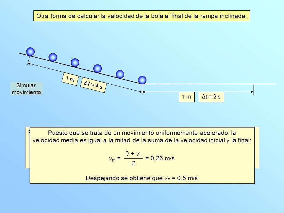 Podemos calcular la velocidad al final de la rampa inclinada a partir del concepto de velocidad media: La velocidad media en ese tramo es v m = 1 mΔt