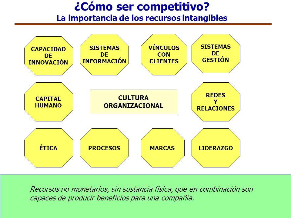 ¿Cómo ser competitivo? La importancia de los recursos intangibles CAPITAL HUMANO SISTEMAS DE INFORMACIÓN PROCESOS VÍNCULOS CON CLIENTES MARCAS REDES Y