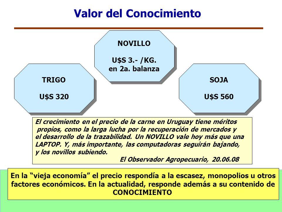 TRIGO U$S 320 TRIGO U$S 320 SOJA U$S 560 SOJA U$S 560 Valor del Conocimiento En la vieja economía el precio respondía a la escasez, monopolios u otros