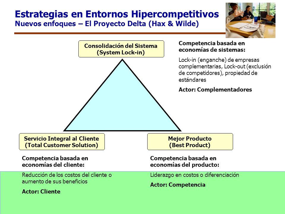 Estrategias en Entornos Hipercompetitivos Nuevos enfoques – El Proyecto Delta (Hax & Wilde) Consolidación del Sistema (System Lock-in) Servicio Integr