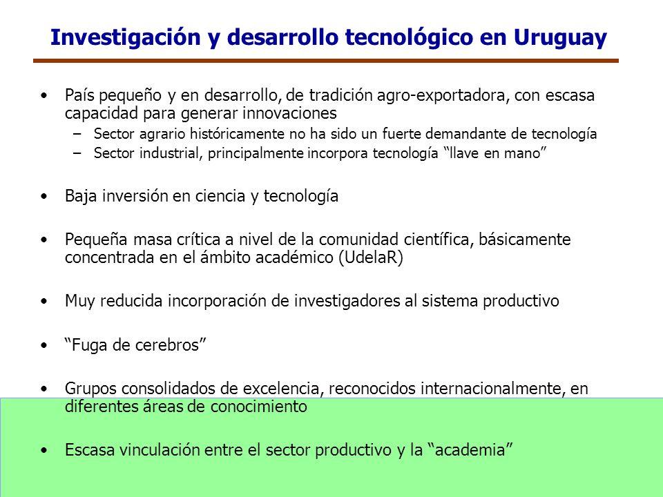 Investigación y desarrollo tecnológico en Uruguay País pequeño y en desarrollo, de tradición agro-exportadora, con escasa capacidad para generar innov