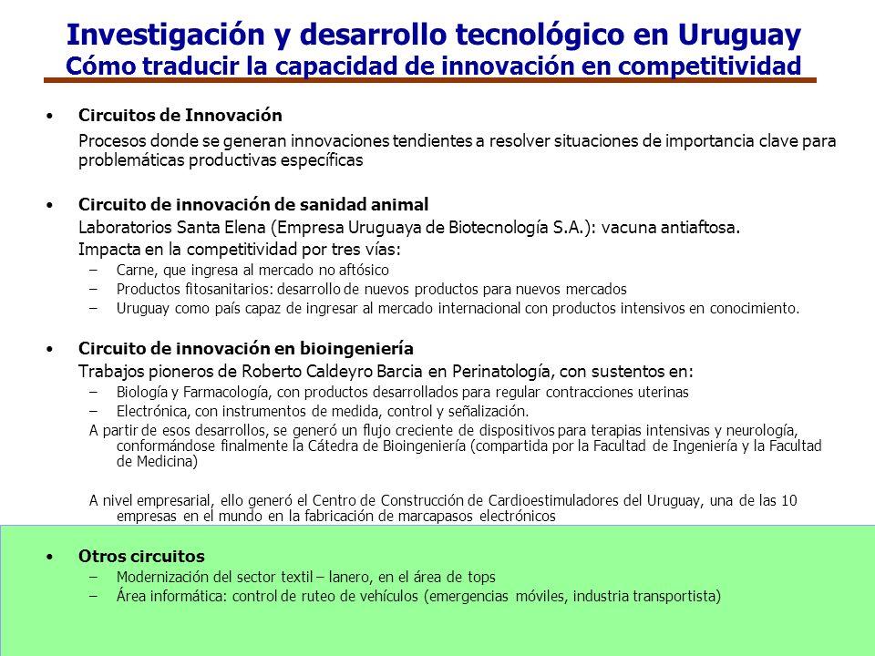 Investigación y desarrollo tecnológico en Uruguay Cómo traducir la capacidad de innovación en competitividad Circuitos de Innovación Procesos donde se