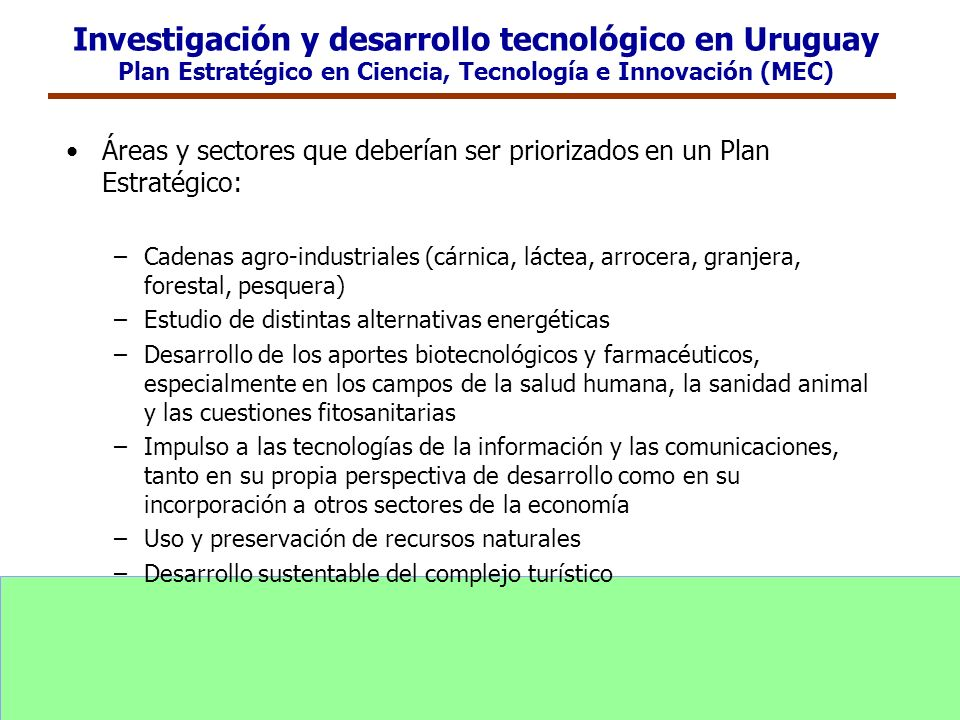 Investigación y desarrollo tecnológico en Uruguay Plan Estratégico en Ciencia, Tecnología e Innovación (MEC) Áreas y sectores que deberían ser prioriz