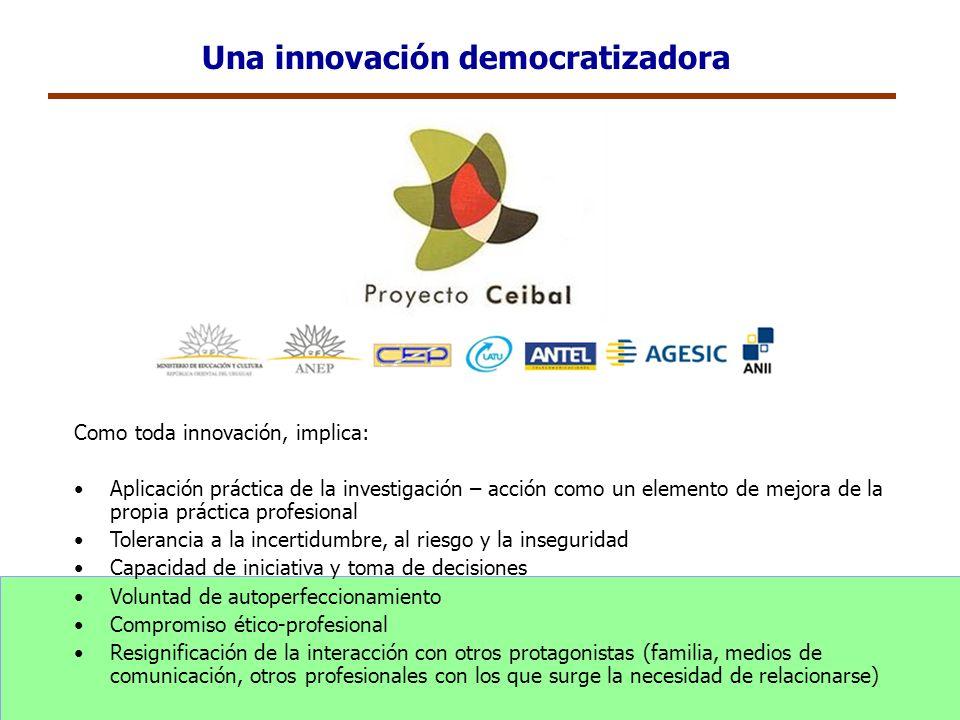 Una innovación democratizadora Como toda innovación, implica: Aplicación práctica de la investigación – acción como un elemento de mejora de la propia