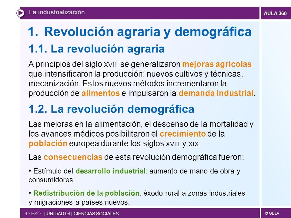 © GELV AULA 360 1.Revolución agraria y demográfica La industrialización 4.º ESO | UNIDAD 04 | CIENCIAS SOCIALES 1.1.