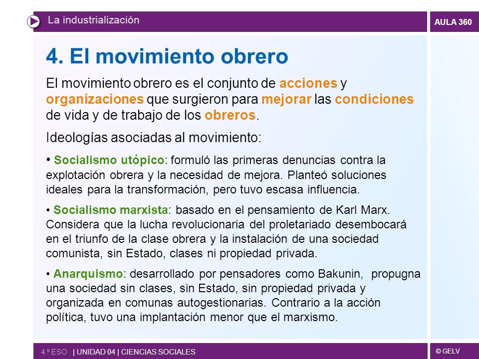 © GELV AULA 360 4.º ESO | UNIDAD 04 | CIENCIAS SOCIALES La industrialización 4.