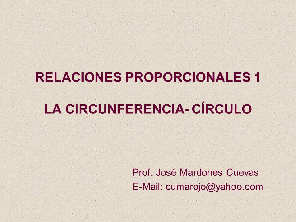 RELACIONES PROPORCIONALES 1 LA CIRCUNFERENCIA- CÍRCULO Prof. José Mardones Cuevas E-Mail: cumarojo@yahoo.com