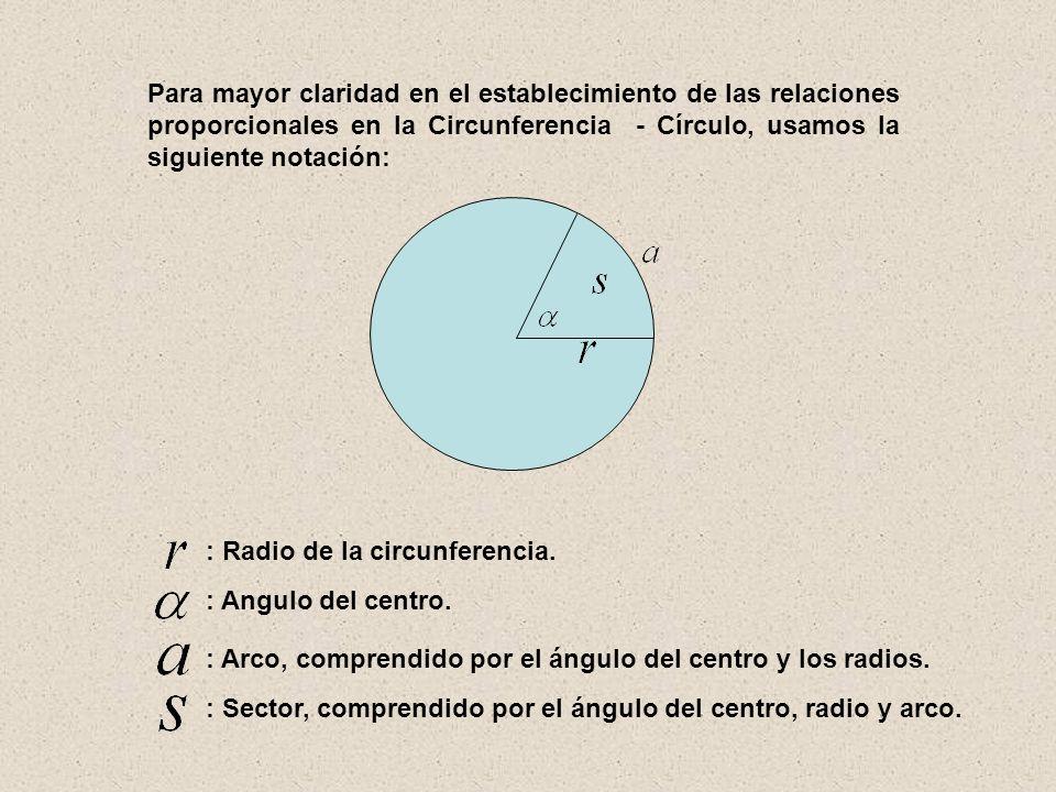 : Angulo del centro. : Arco, comprendido por el ángulo del centro y los radios. : Sector, comprendido por el ángulo del centro, radio y arco. Para may