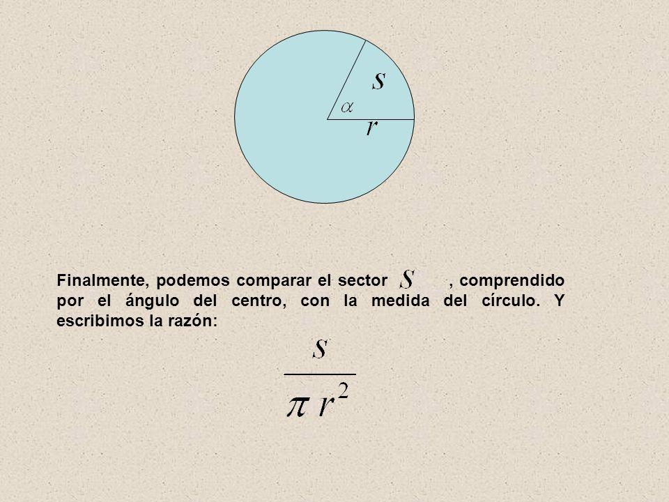 Finalmente, podemos comparar el sector, comprendido por el ángulo del centro, con la medida del círculo. Y escribimos la razón: