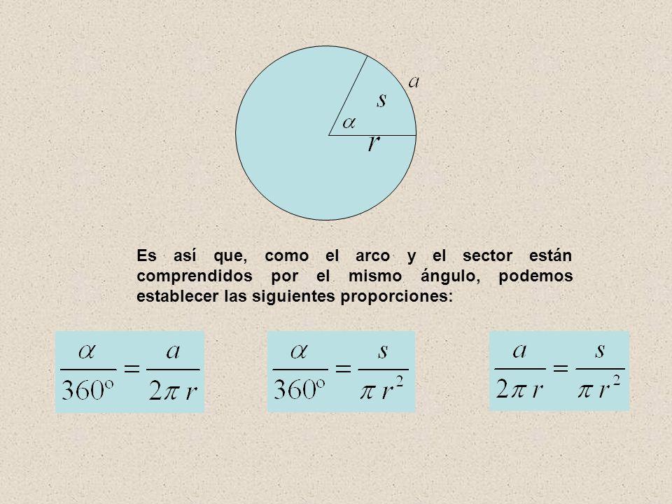 Es así que, como el arco y el sector están comprendidos por el mismo ángulo, podemos establecer las siguientes proporciones: