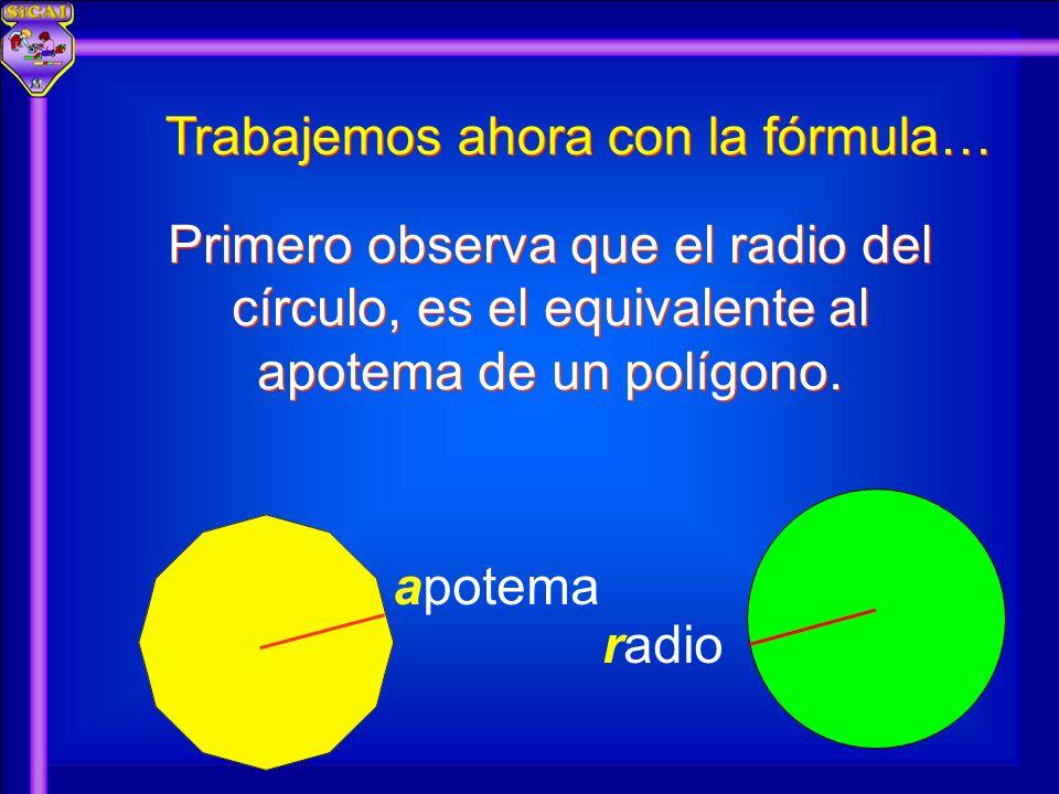 apotema radio Trabajemos ahora con la fórmula… Primero observa que el radio del círculo, es el equivalente al apotema de un polígono.