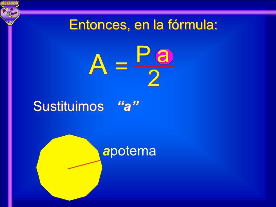 A A 2 2 P a = = apotema Entonces, en la fórmula: Sustituimos a a