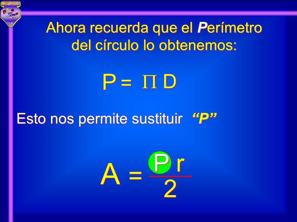 Ahora recuerda que el Perímetro del círculo lo obtenemos: Esto nos permite sustituir P P D D = = P P A A 2 2 P r = =