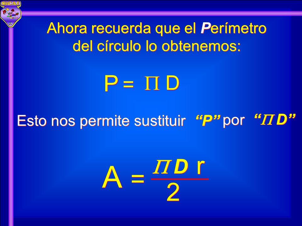 P P D D = = A A 2 2 = = D D r r Ahora recuerda que el Perímetro del círculo lo obtenemos: por D D Esto nos permite sustituir P P