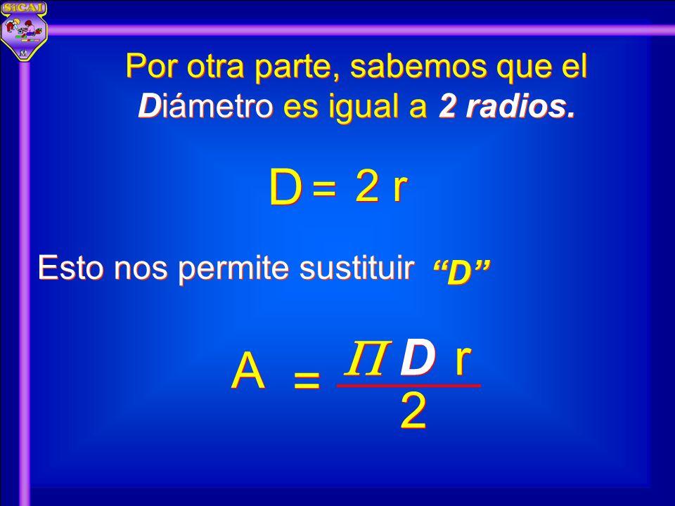 Por otra parte, sabemos que el Diámetro es igual a 2 radios. Esto nos permite sustituir r r A A 2 2 = = D D 2 r = = D D D D