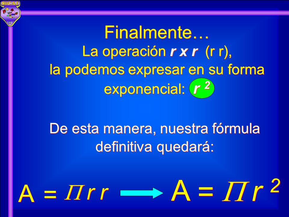 Finalmente… De esta manera, nuestra fórmula A A r 2 = = A A r r = = La operación r x r (r r), la podemos expresar en su forma exponencial: r 2 definit