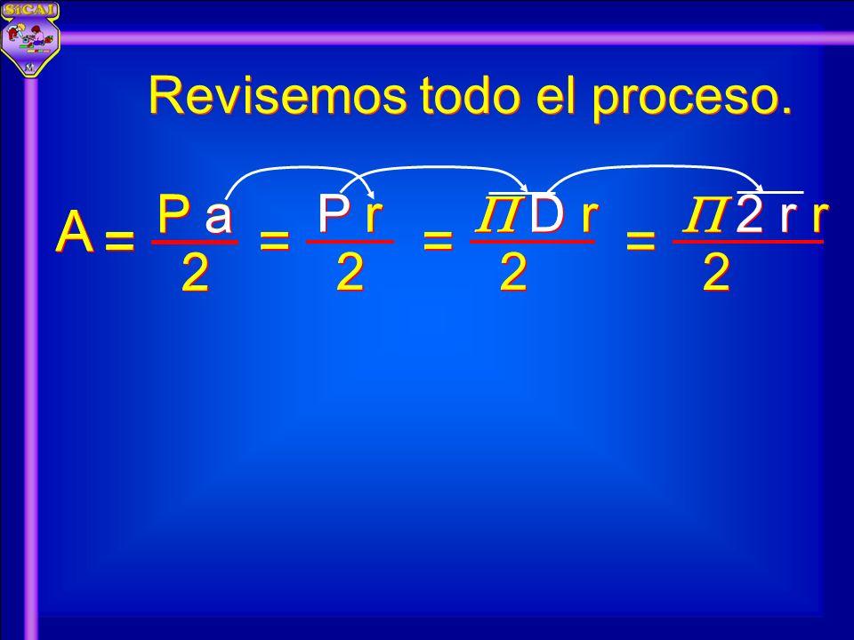 Revisemos todo el proceso. A A 2 2 P a = = 2 2 P r = = 2 2 D r = = 2 2 2 r r = = 2 2 P r = = 2 2 D r = = A A 2 2 P a = =