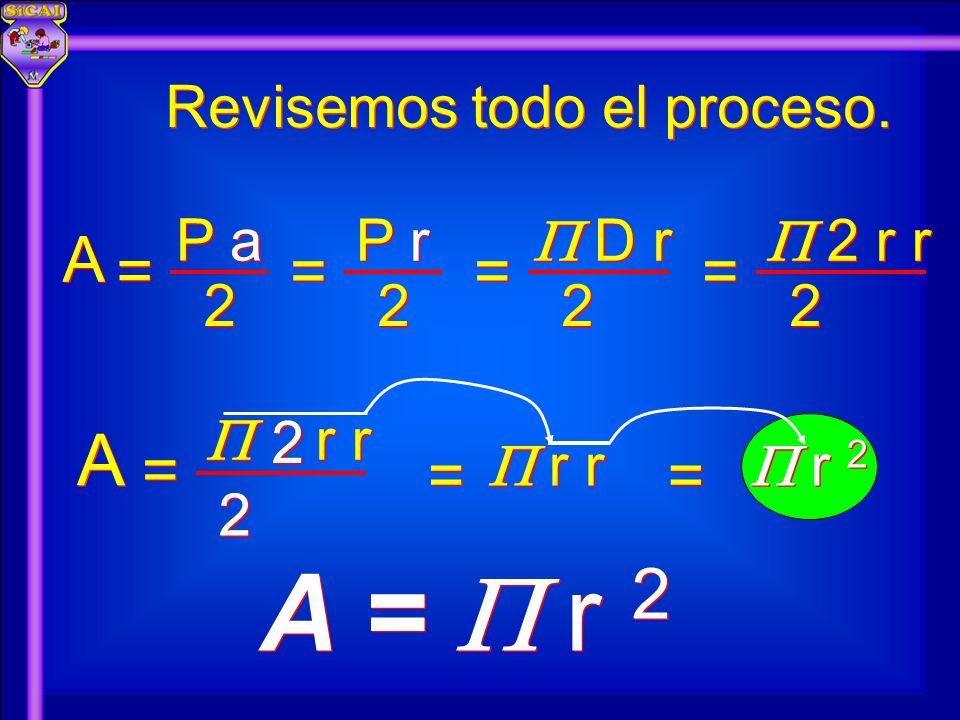Revisemos todo el proceso. A A 2 2 P a = = 2 2 P r = = 2 2 D r = = 2 2 2 r r = = r r = = A A = = r 2 = = A = r 2 A = r 2 2 2 2 2 2 2 2 2