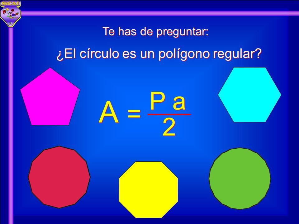 Te has de preguntar: ¿El círculo es un polígono regular? A A 2 2 P a = =
