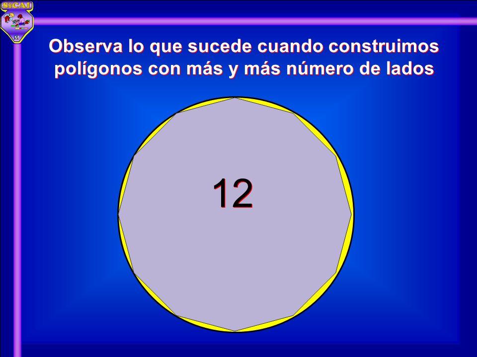 12 Observa lo que sucede cuando construimos polígonos con más y más número de lados