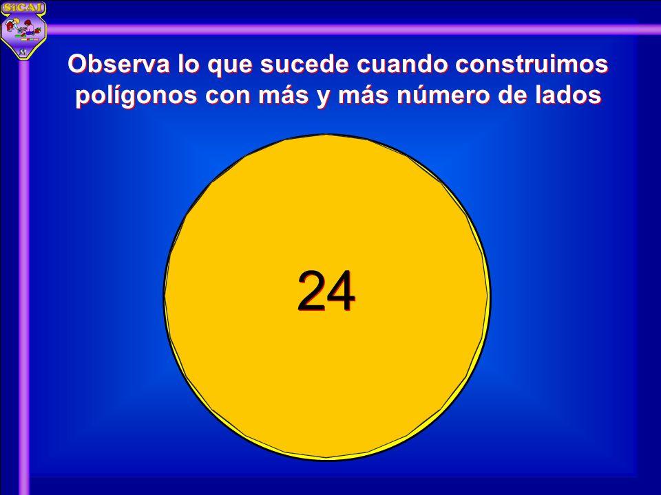 24 Observa lo que sucede cuando construimos polígonos con más y más número de lados