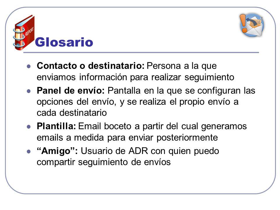 Glosario Contacto o destinatario: Persona a la que enviamos información para realizar seguimiento Panel de envío: Pantalla en la que se configuran las