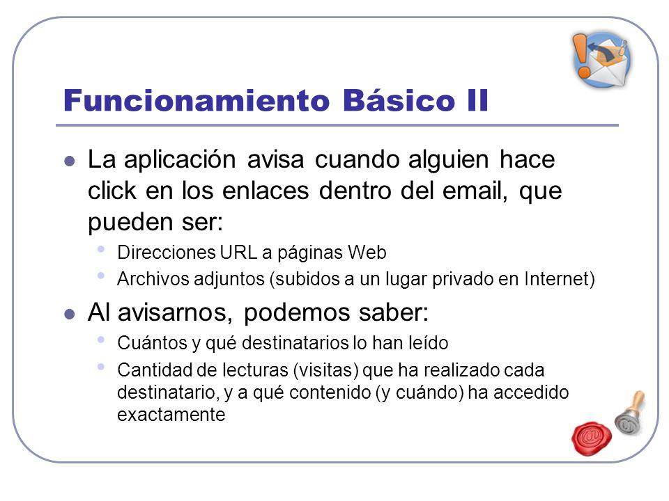 Funcionamiento Básico II La aplicación avisa cuando alguien hace click en los enlaces dentro del email, que pueden ser: Direcciones URL a páginas Web