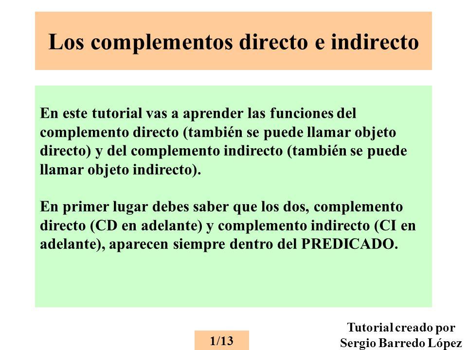 Los complementos directo e indirecto En este tutorial vas a aprender las funciones del complemento directo (también se puede llamar objeto directo) y del complemento indirecto (también se puede llamar objeto indirecto).