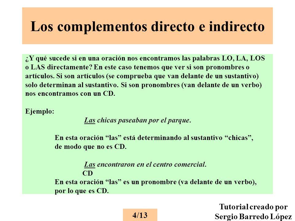 Los complementos directo e indirecto ¿Y qué sucede si en una oración nos encontramos las palabras LO, LA, LOS o LAS directamente.