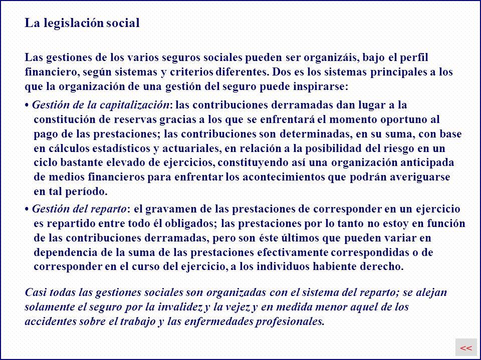 La legislación social << Las gestiones de los varios seguros sociales pueden ser organizáis, bajo el perfil financiero, según sistemas y criterios dif
