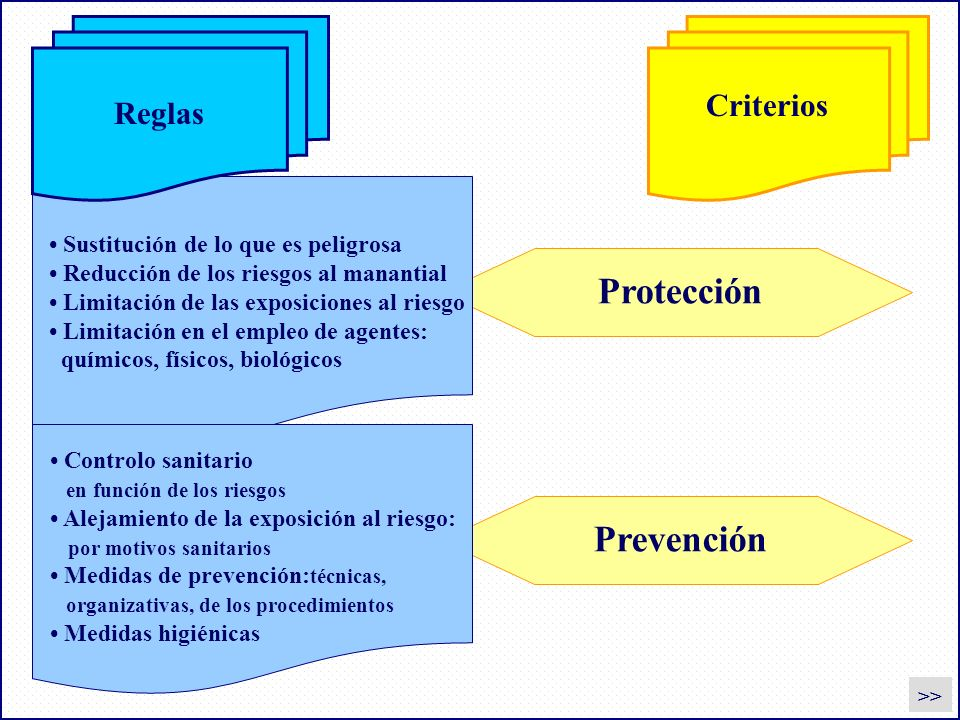 Regole Criteri Protección Prevención Sustitución de lo que es peligrosa Reducción de los riesgos al manantial Limitación de las exposiciones al riesgo