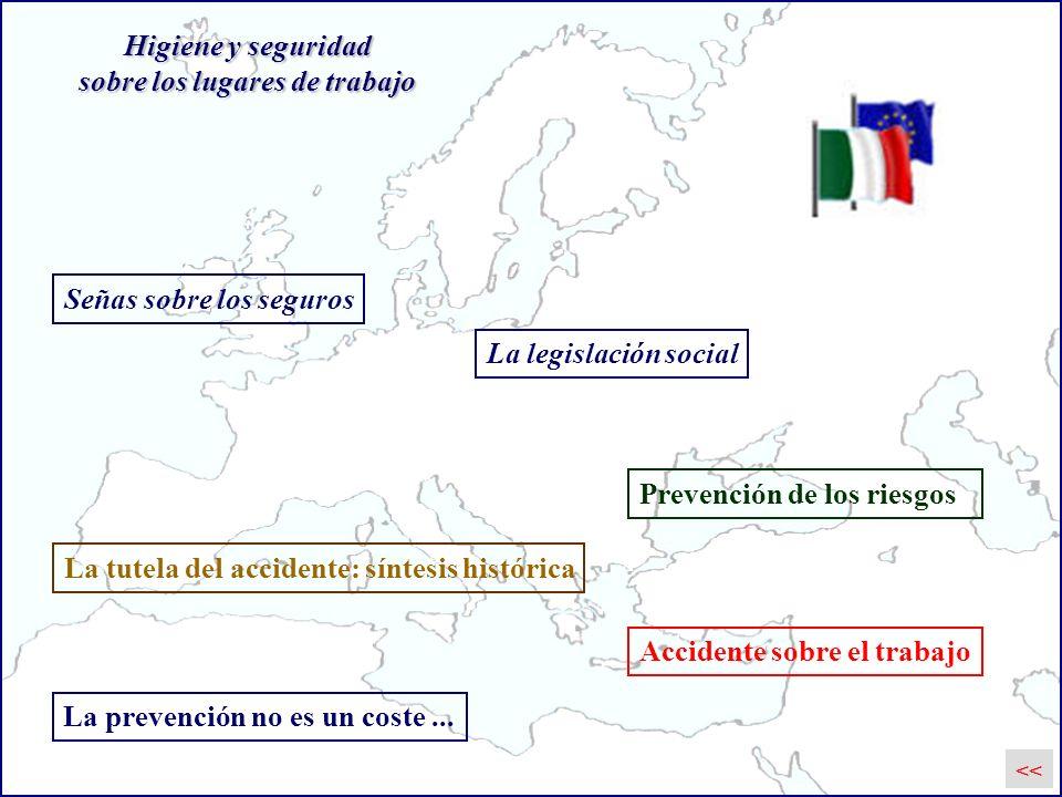 Prevención de los riesgos Accidente sobre el trabajo La tutela del accidente: síntesis histórica Higiene y seguridad sobre los lugares de trabajo Seña