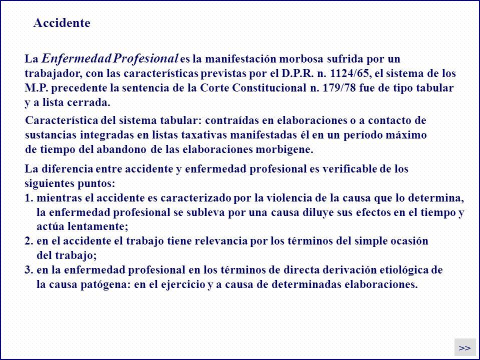 Accidente La Enfermedad Profesional es la manifestación morbosa sufrida por un trabajador, con las características previstas por el D.P.R. n. 1124/65,