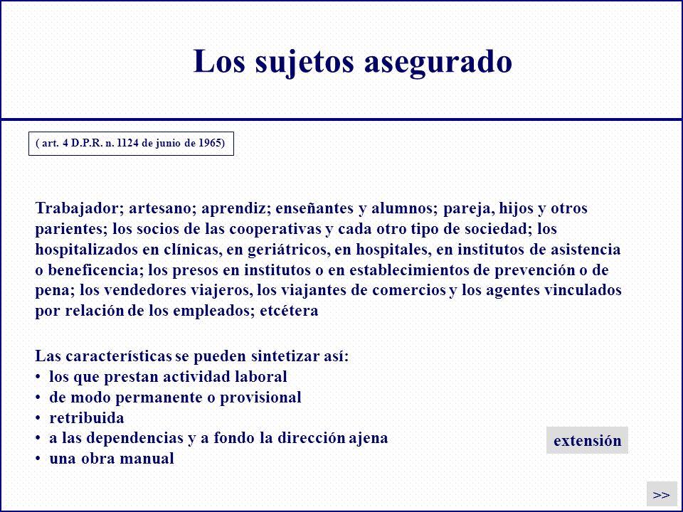 Los sujetos asegurado ( art. 4 D.P.R. n. 1124 de junio de 1965) Las características se pueden sintetizar así: los que prestan actividad laboral de mod