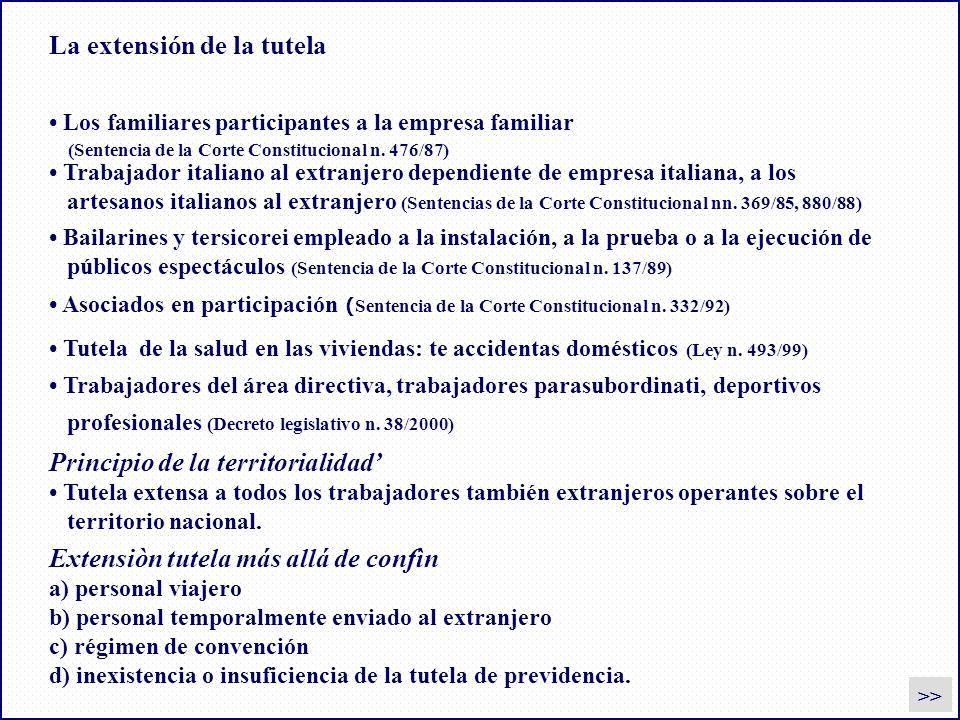 La extensión de la tutela Los familiares participantes a la empresa familiar (Sentencia de la Corte Constitucional n. 476/87) Asociados en participaci