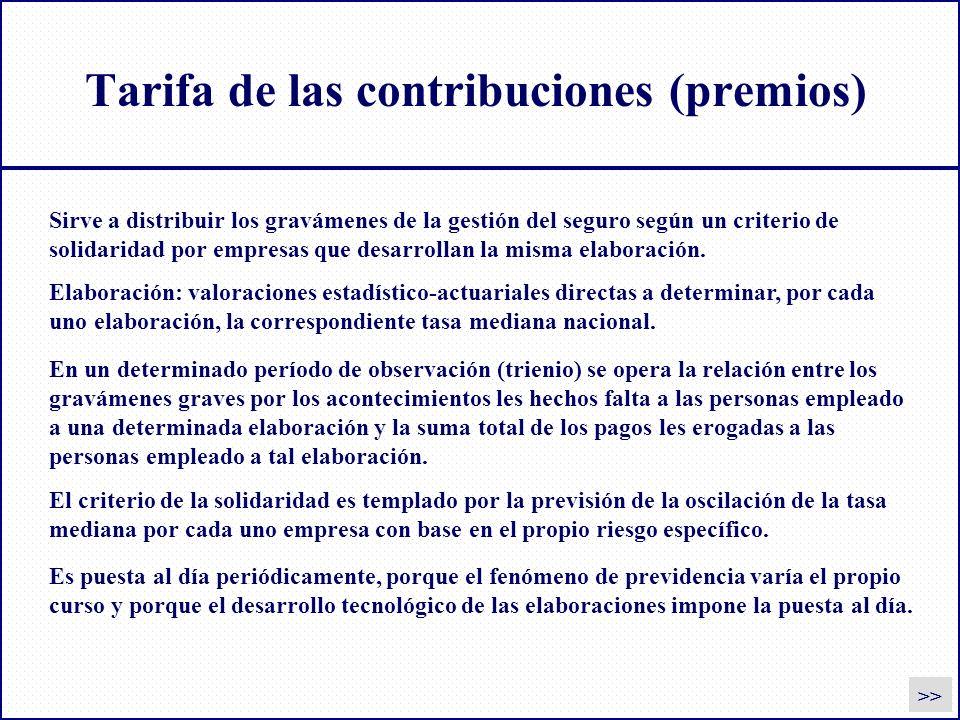 Tarifa de las contribuciones (premios) >> Sirve a distribuir los gravámenes de la gestión del seguro según un criterio de solidaridad por empresas que