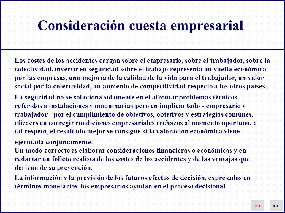 Consideración cuesta empresarial Los costes de los accidentes cargan sobre el empresario, sobre el trabajador, sobre la colectividad, invertir en segu