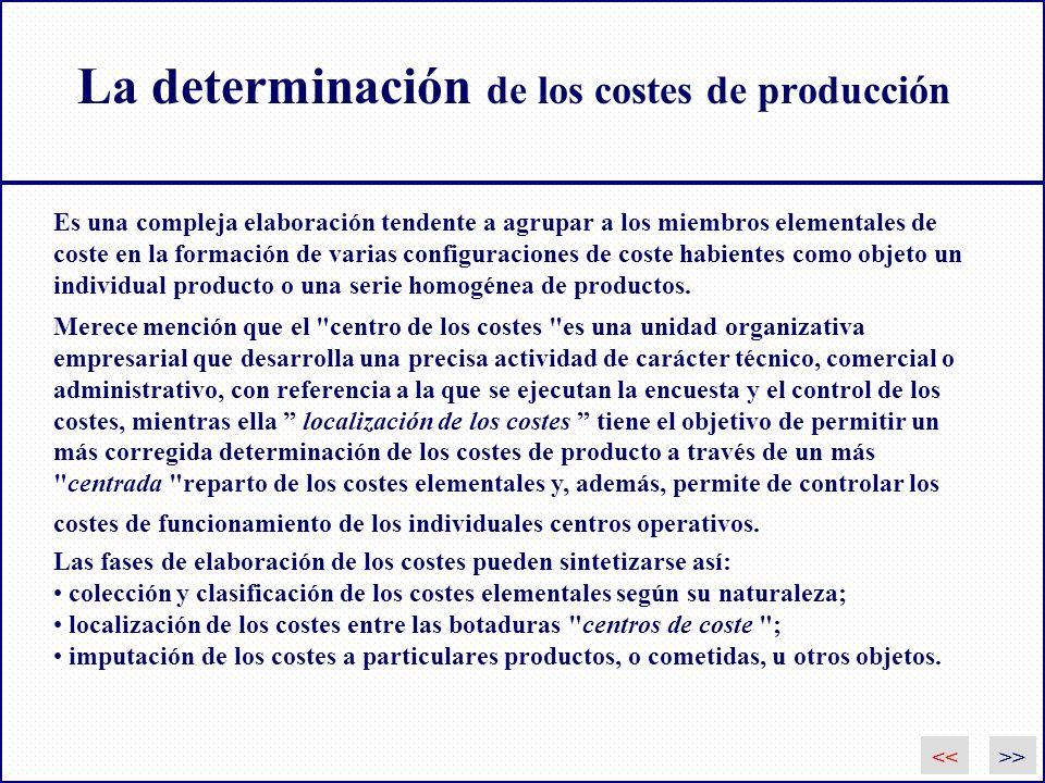 La determinación de los costes de producción Es una compleja elaboración tendente a agrupar a los miembros elementales de coste en la formación de var