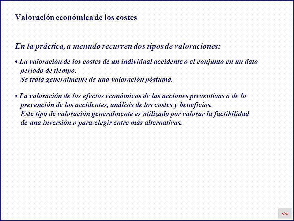 Valoración económica de los costes En la práctica, a menudo recurren dos tipos de valoraciones: La valoración de los costes de un individual accidente