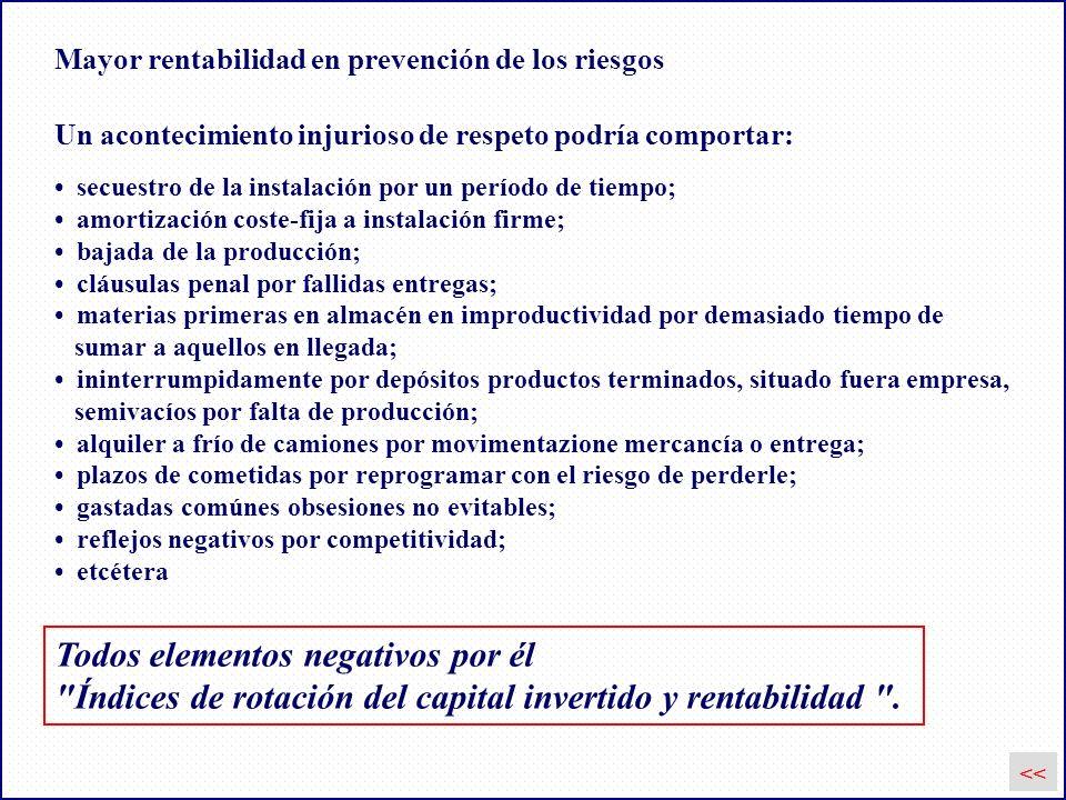 Mayor rentabilidad en prevención de los riesgos Todos elementos negativos por él