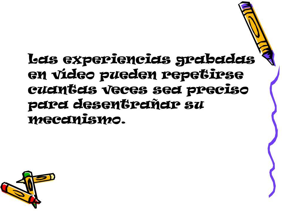 Las experiencias grabadas en vídeo pueden repetirse cuantas veces sea preciso para desentrañar su mecanismo.