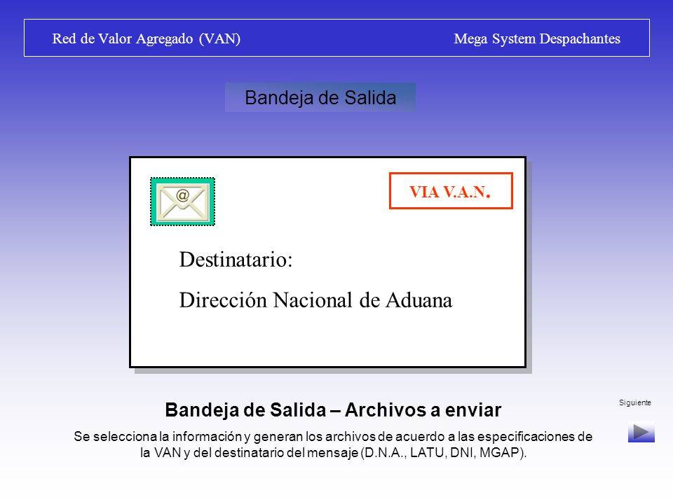 Siguiente Red de Valor Agregado (VAN) Mega System Despachantes RED DE VALOR AGREGADO (VALUE ADDED NET) TODAS LAS OPERACIONES ADUANERAS DEBEN SER TRANS