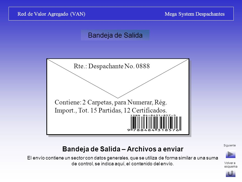 Red de Valor Agregado (VAN) Mega System Despachantes Bandeja de Salida – Archivos a enviar Se selecciona la información y generan los archivos de acuerdo a las especificaciones de la VAN y del destinatario del mensaje (D.N.A., LATU, DNI, MGAP).