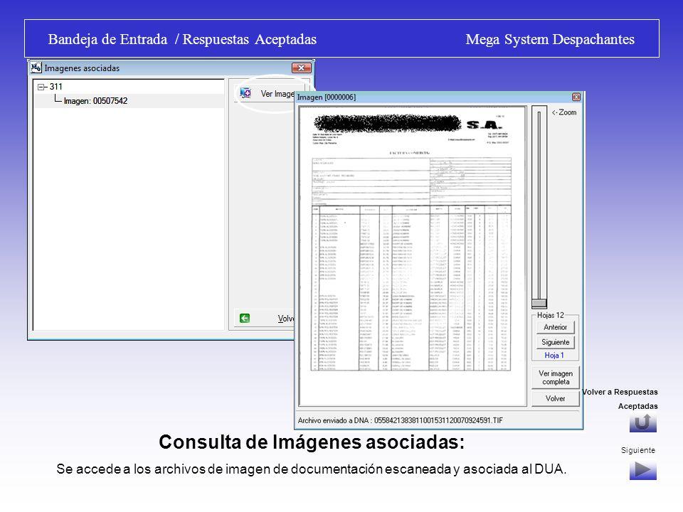Bandeja de Entrada / Respuestas Aceptadas Mega System Despachantes Consulta de Mensajes y Observaciones: Se accede a los mensajes generados por el Sistema Informático de la D.N.A., a medida que se va gestionando el DUA: Canal, entrega de Sobre, Observaciones.
