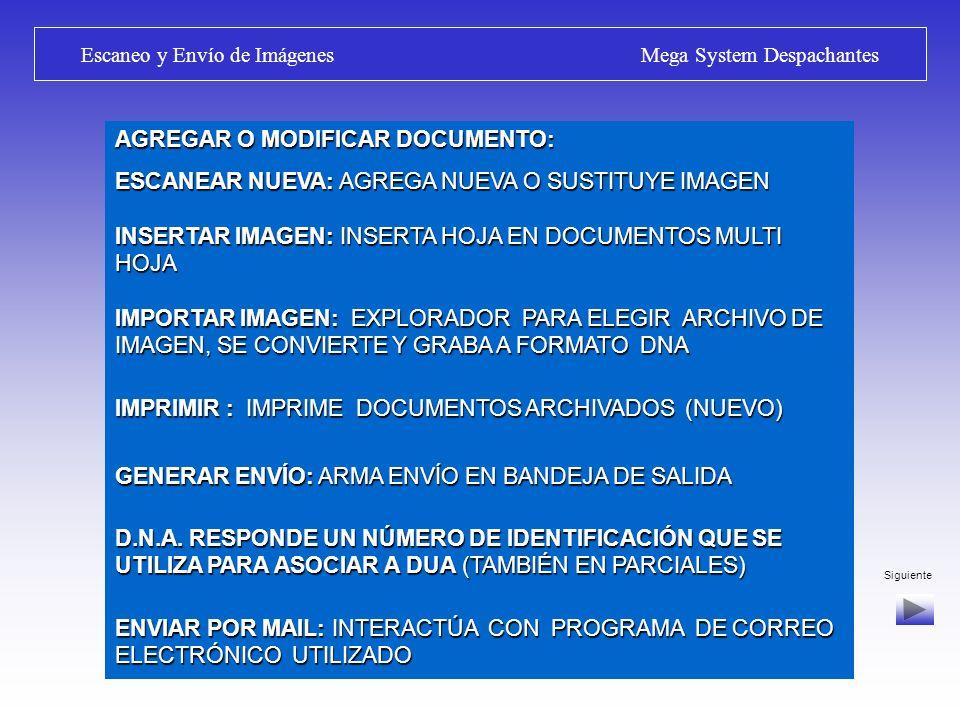 Siguiente Escaneo y Envío de Imágenes Mega System Despachantes