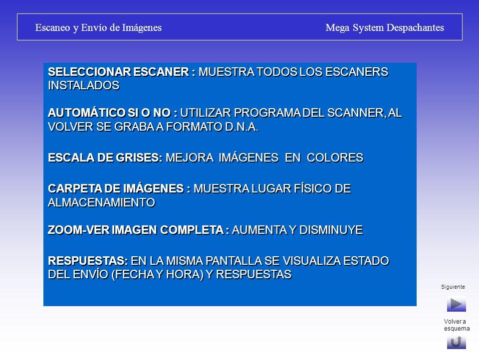 Siguiente Escaneo y Envío de Imágenes Mega System Despachantes AGREGAR O MODIFICAR DOCUMENTO: ESCANEAR NUEVA: AGREGA NUEVA O SUSTITUYE IMAGEN INSERTAR IMAGEN: INSERTA HOJA EN DOCUMENTOS MULTI HOJA IMPORTAR IMAGEN: EXPLORADOR PARA ELEGIR ARCHIVO DE IMAGEN, SE CONVIERTE Y GRABA A FORMATO DNA IMPRIMIR : IMPRIME DOCUMENTOS ARCHIVADOS (NUEVO) GENERAR ENVÍO: ARMA ENVÍO EN BANDEJA DE SALIDA D.N.A.