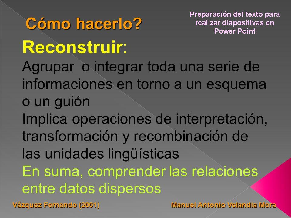 Reconstruir: Agrupar o integrar toda una serie de informaciones en torno a un esquema o un guión Implica operaciones de interpretación, transformación