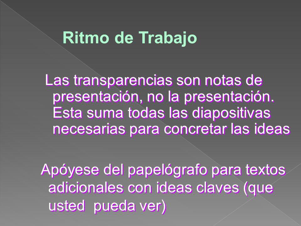 Ritmo de Trabajo Las transparencias son notas de presentación, no la presentación. Esta suma todas las diapositivas necesarias para concretar las idea